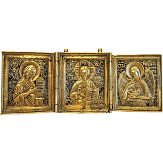 Antique enamelled Russian Icon, 19th century