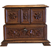 Antique hand carved  casket, walnut wood, ca. 1900