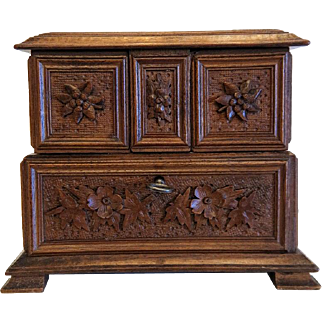Antique hand carved  casket, walnut wood, ca. 1900