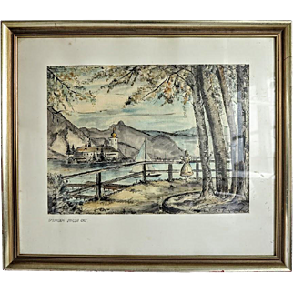 Water color painting  depicting a lake landscape, signed and dated 1952