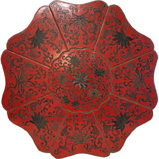 Antique Chinese red lacquered wooden box, 19th century