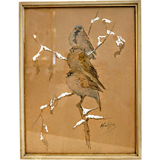 Watercolor painting depicting three sparrows, signed and dated ca. 1930