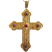 Antique Bishop´s Cross with 4 Amethysts and a pink Tourmaline, gilt silver, 19th century