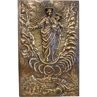 Antique Bronze plaque depicting the Holy Virgin and the Christ Child, 19th century