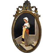 Antique Pietra Dura plaque in a Gilt Bronze frame, 19th century