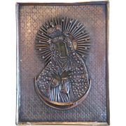 """Russian Icon of """"Our Lady of the Gate of Dawn."""",copper oklad, end of 19th century"""