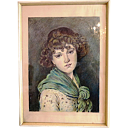 Antique chalk drawing of a young woman wearing a green scarf, ca. 1900