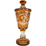 Antique Bohemian lead crystal urn, 19th century