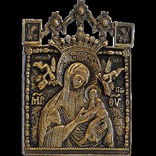 Antique Greek Orthodox Icon, gilt metal, 19th century