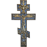 Large Russian gilt metal crucifix with blue enamel, 19th century