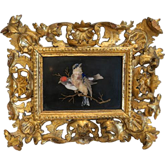 Antique Pietra Dura plaque in a gilt wood frame, 19th century