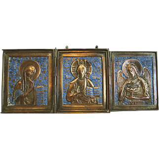 Antique Russian Tryptich, blue enamel, 19th century