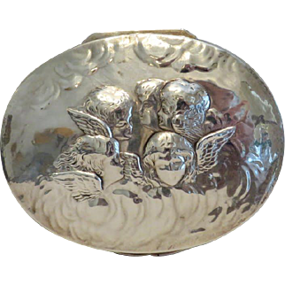 Antique English silver box, 19th century