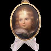 Antique miniature painted on porcelain, 19th century