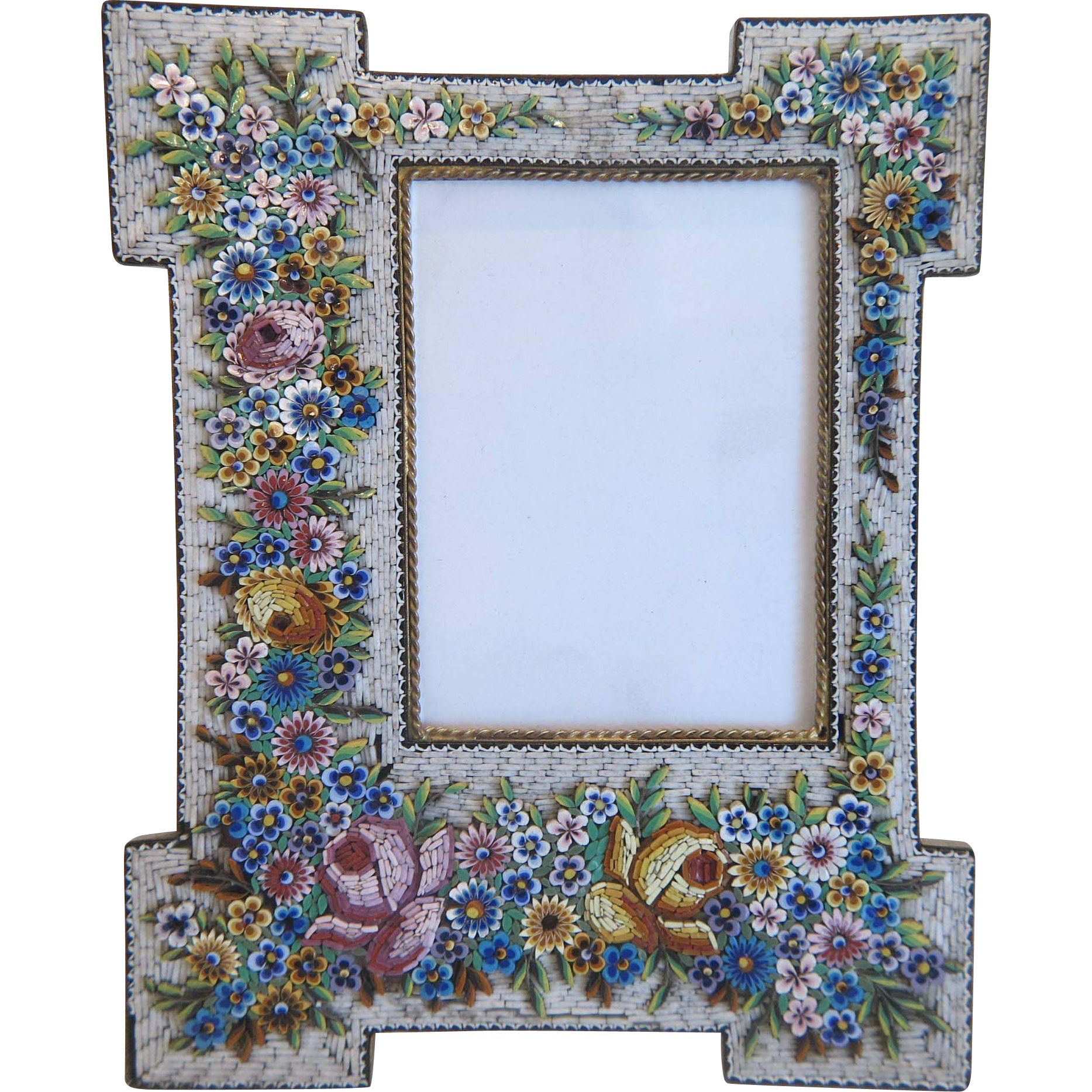 Grand Tour Era Micro Mosaic flower frame, 19th century