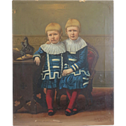 Antique hand painted print depicting two young girls, 19th century