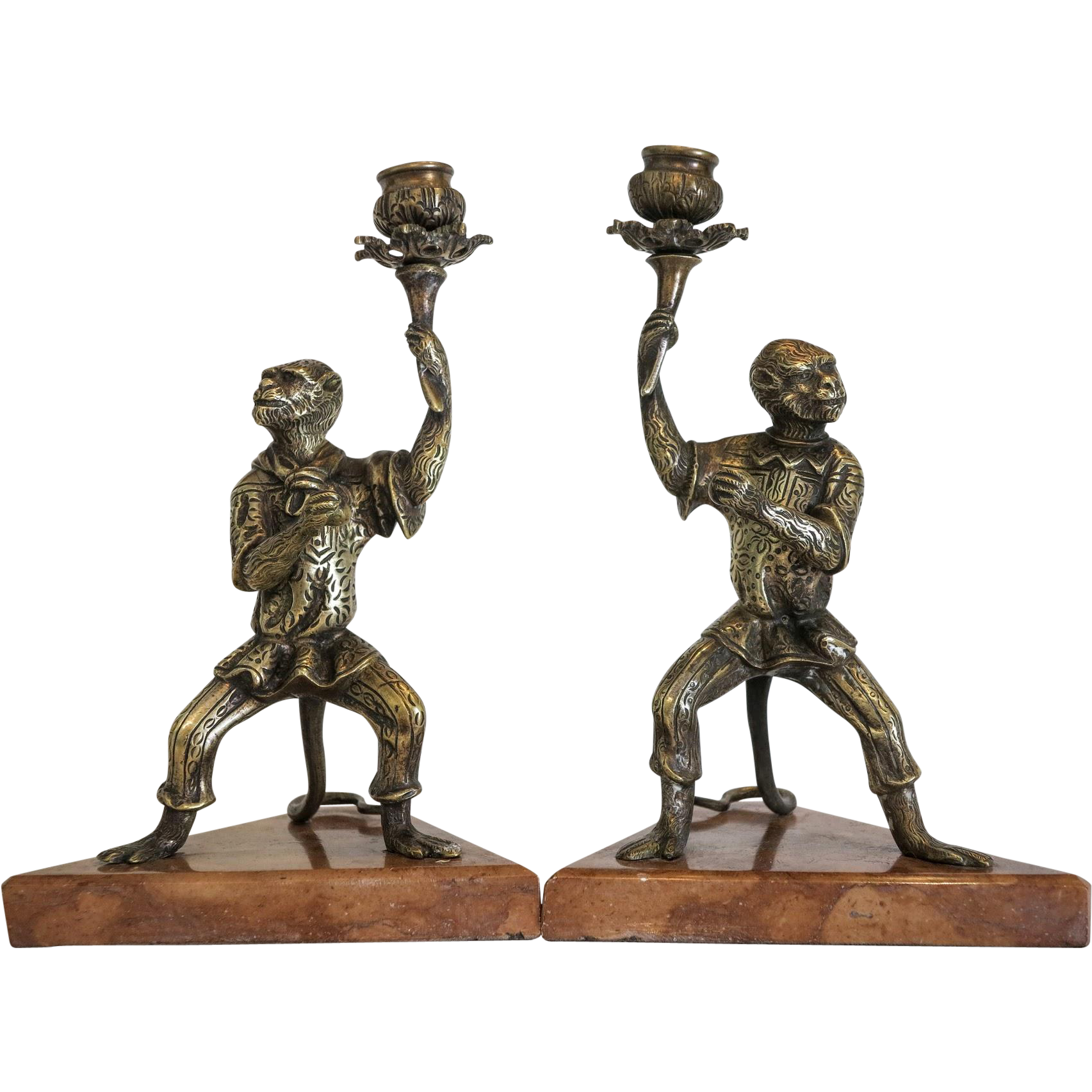 Antique pair of Vienna Bronze candle sticks, 19th century