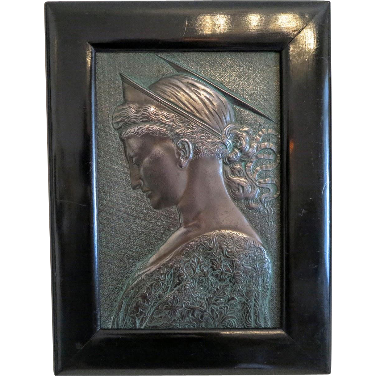 Antique Art Nouveau Bronze plaque depicting the Holy Virgin, ca. 1900