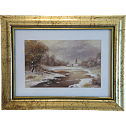 Painting depicting a winter landscape, oil on canvas, ca.1940 - Red Tag Sale Item