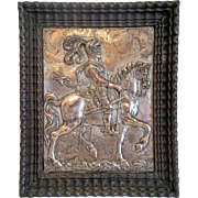 Antique copper relief work depicting a knight on his horse, 19th century