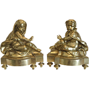 Antique French Gilt Bronze Chenets, dated ca.1870