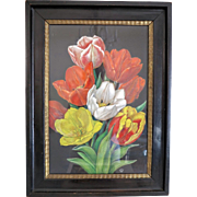 Painting of a colorful bunch of Tulips, tempera on parchment, ca. 1940