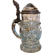 Antique Bohemian lead crystal pitcher, 19th century