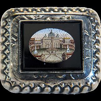 Antique Roman Micro Mosaic silver box, 19th century