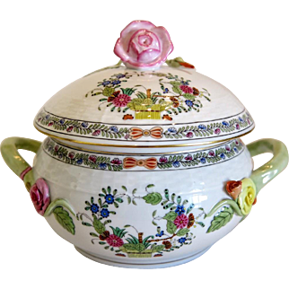 Herend porcelain Tureen Multi Color Indian Basket, mid 20th century