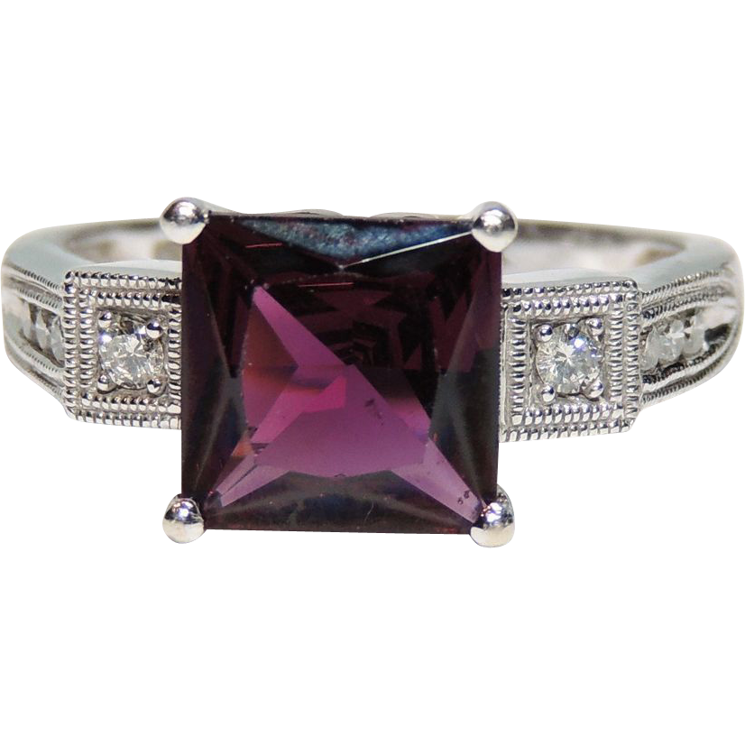 vintage 14k rhodolite garnet ring princess cut