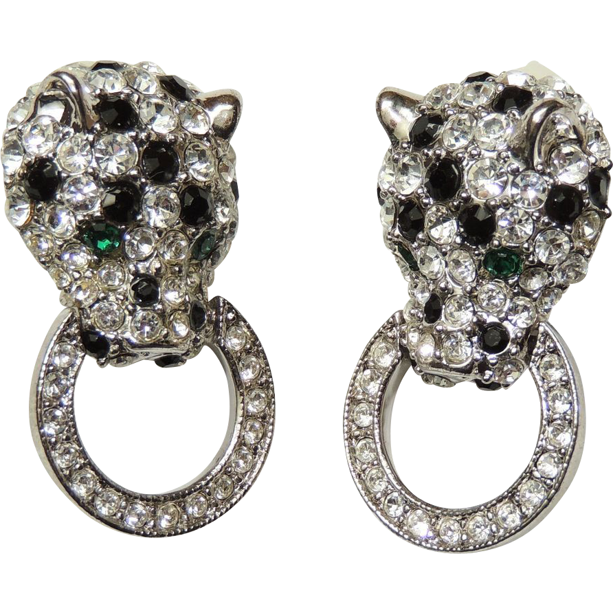 Kjl For Avon Panther Leopard Door Knocker Clip Earrings Kenneth Sold Ruby Lane