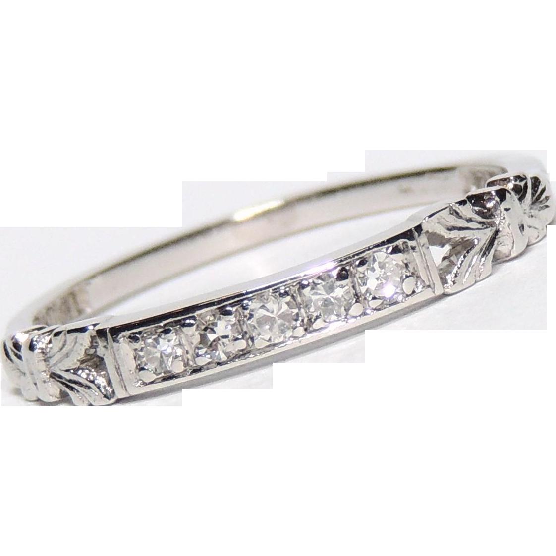 Stacker Bands: Vintage Platinum Diamond Wedding Band, Ring, Stacker