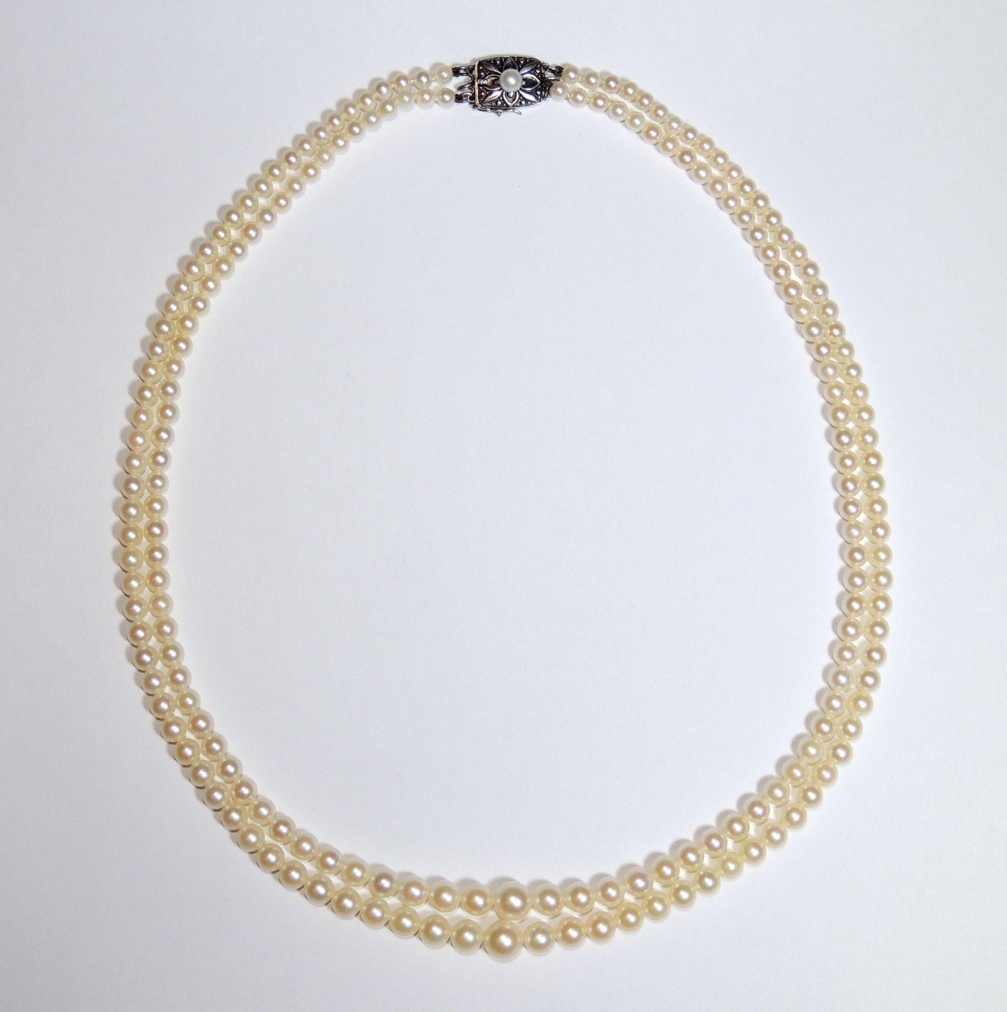 White Freshwater Double Strand Pearl Necklace 7 5 8 0mm Source · Roll Over  Large Image To Magnify Click Large Image To Zoom