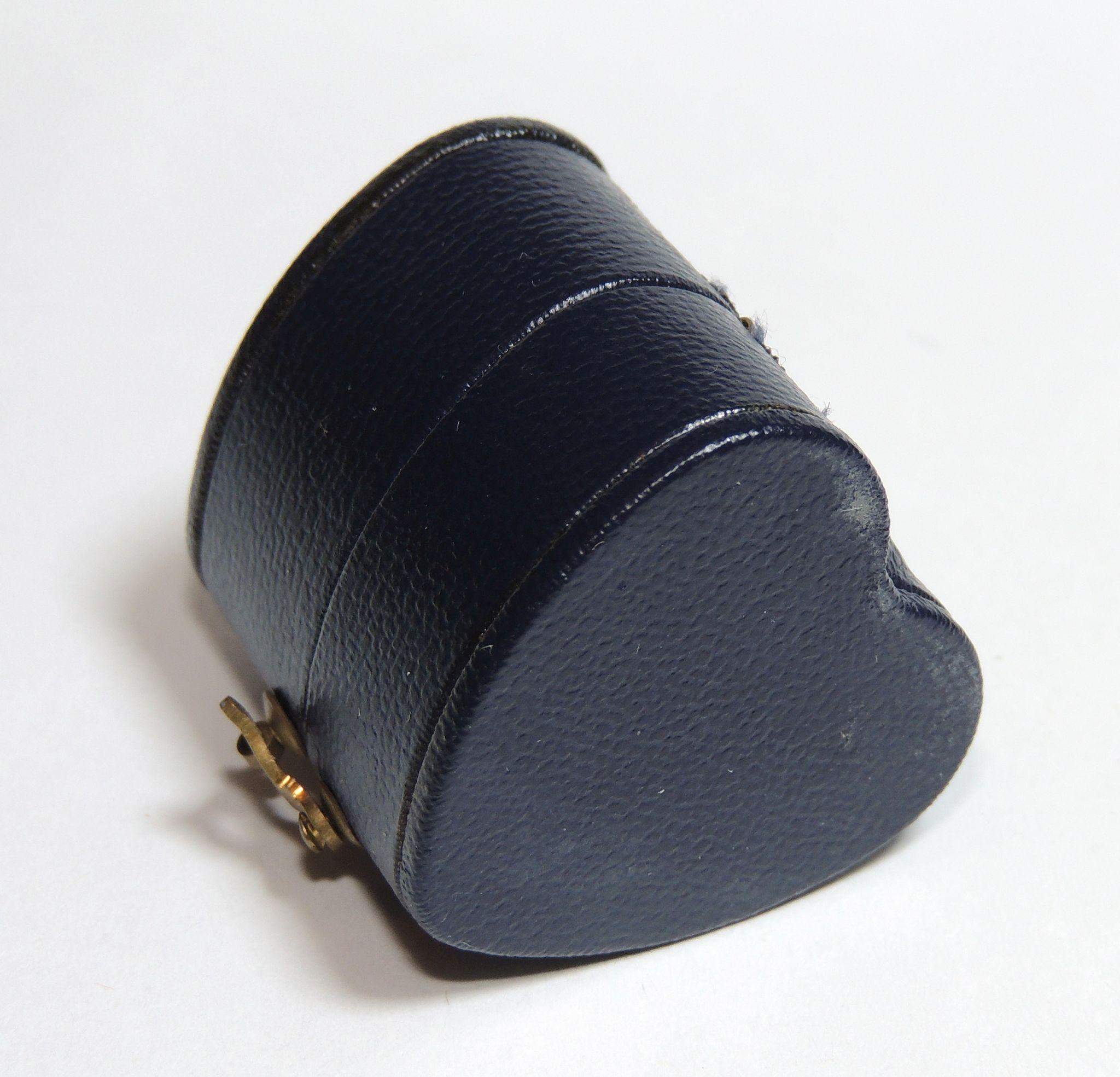Antique Leather Heart Shaped Ring Box