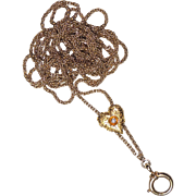 "Antique 14K Diamond Puffy Heart Slide Chain, Lorgnette, Guard, 49.5"", Necklace, Pendant, Watch"