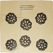 Six Silver Buttons Hand Made by Navajo Indian Silversmiths, Native American, Concho, Sewing