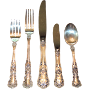 63 Pc Gorham Sterling Silver Buttercup Flatware, Place Setting for 12 + 3 Serving Pieces, Estate