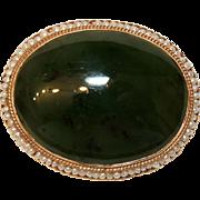14K Gold Nephrite Jade & Seed Pearl Brooch / Pin, Pendant