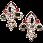 Rare Signed Swarovski Fleur De Lis Earrings, Clip Back, Ruby Red, Emerald Green, Sapphire Blue Crystals