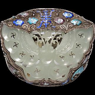Antique Chinese Export Bracelet, Carved Jade Butterfly, Silver Filigree Mesh, Enamel Bats, Longevity, Wide