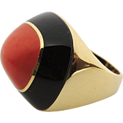 Davide Molina 18kt Coral & Black Onyx Heavy Gold Ring, Retro, Italy, 18k, sz 6.75