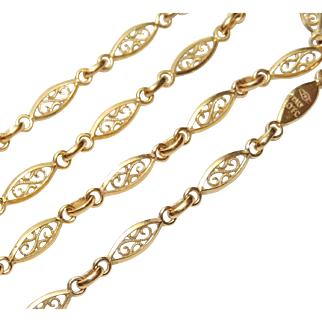 """18k Yellow Gold Italian Filigree Open Link Chain, Necklace, 17.25"""" 7.4g, 18kt"""