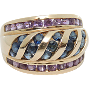 14K Blue Sapphire & Amethyst Ring, 14kt Yellow Gold, sz 6, Domed, Channel Set