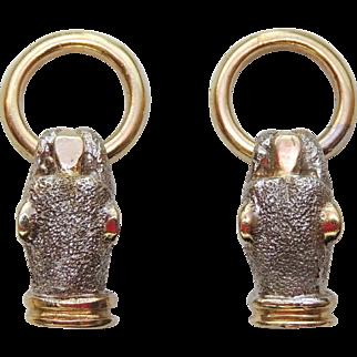 14K Panther Door Knocker Style Earrings, 14kt Yellow & White Gold, Pierced, Post, Leopard