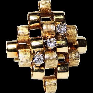 14K Mid Century Modernist Diamond Ring, Textured Circles, Mod, Retro, 14kt Yellow Gold, sz 6.5