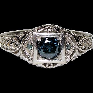 14K Teal Blue Diamond Ring, White Gold Filigree Mount, Sz 6.5, .50ctw