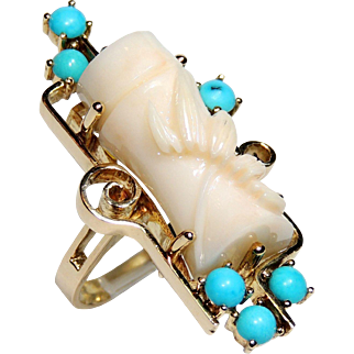 14k Angel Skin Coral & Persian Turquoise Ring, Carved Bamboo, Vintage, size 7, Custom