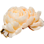 14k Finely Carved Angel Skin Coral Brooch, Pin, 14kt Yellow Gold, Mum, Peony, Flower