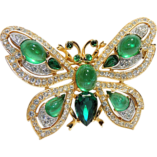 "Crown Trifari Moguhl Jewels of India Flawed ""Emerald"" Green Butterfly Brooch, Pin, Alfred Philippe"