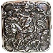 Art Nouveau Sterling Silver Cigarette Case Nude, Sea Nymph, Horses, Repousse